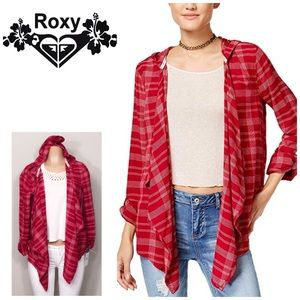 ROXY plaid city poncho. NWT